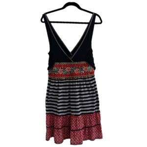 Free People Size 8 Floral Stripe Embroidered Dress